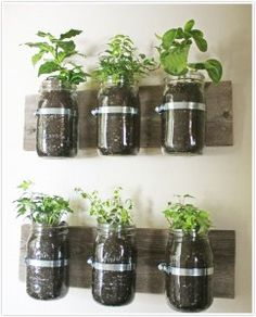 Easy Indoor Herb Garden, we have the wood and the mason jars. EASY
