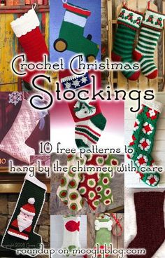 Crochet Christmas Stockings: 10 Free Patterns to Hang This Year! @moogly