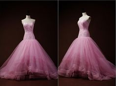 Pink Lace Tulle Wedding Dress Ball Gown Prom Dress by wonderxue, $459.00