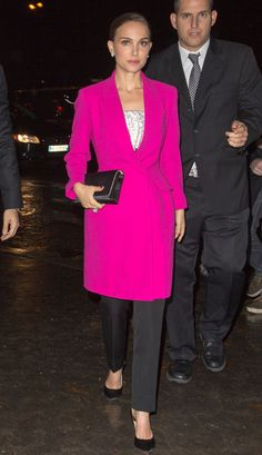 Natalie Portman in a bold fuchsia coat