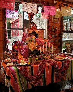 Traditional Mexican Dia de los Muertos altar