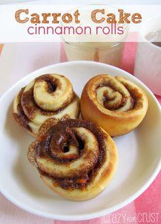 Carrot Cake Cinnamon Rolls | crazyforcrust.com | #breakfast #cinnamonroll