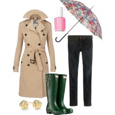 Burberry trench and hunter boots