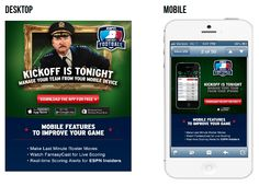 This email from ESPN, promoting the ESPN Fantasy Football mobile app, offers an entirely different experience when opened on a mobile device versus on desktop. Click to read more about it on our blog! #emailmarketing #mobile