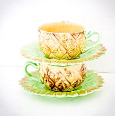 Vintage Pineapple Tea Cups Ceramic Made in by TheOtherLifeVintage, $19.00