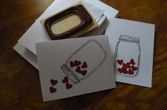 valentines cards made with mason jar stamp and heart punches