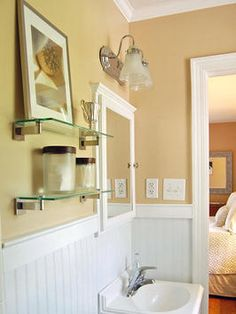 Abby Schill bathroom beadboard and glass shelves