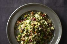 Quinoa salad w hazelnuts, apple and dried cranberries