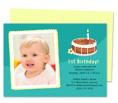 Quinn 1st Birthday Invitations Templates. Printable, just edit and print on your own printer. Reusable and customizable to your own party details.