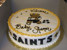 Thanks to Leevan Roberts for sending us this Baby Shower cake picture! #Saints #NOLA #Cake #Baby #BabyShower