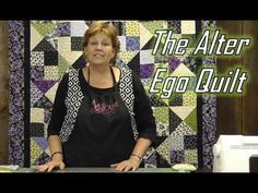 "http://missouriquiltco.com -- Jenny Doan shows us how to make what we call the ""Alter Ego"" quilt using Layer Cakes (10"" precut fabric squares). It's a mix of two blocks - the Hour Glass Block and the Scrappy Four Patch."