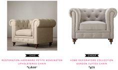 Restoration Haardware Petite Kensington Upholstered Chair $1,610  -vs-  Home Decorators Collection Gordon Tufted Chair $471