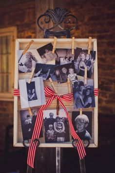 Really nice picture box for displaying pics at a wedding!  Could work for memory table photos too if you're short on space.