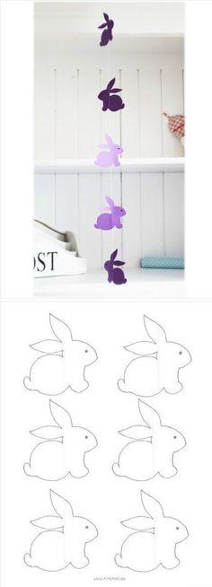 小兔兔风铃,门帘,可以自己画,自己剪,自己做…_来自团团小团团的图片分享