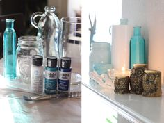 Reusing old vases and jars - I tried it!    Method I used: http://www.bachmanssparrow.com/blog/personal/turn-your-old-glass-bottles-and-jars-into-beautiful-pieces/