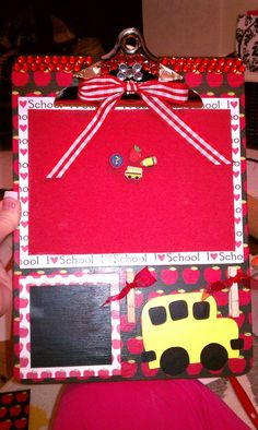 Adorable Personalized Clipboard/Tackboard/Sticky Note Holder by ClipboardsbyJessica on Etsy, $23.00.  Cute gift for a Teacher!
