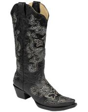 This handcrafted Corral Ladies Crystal Inlay Black Cowgirl Boot offers vintage style with  contemporary bling.The black boot features black inlaid leather that has been adorned with beautiful clear crystals. The boot also features a stylish snip toe, 2