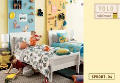 Sprout .04 fills a room like morning kisses from the sun.  It's cheery, not too bright, and inspires creativity!  Your little ones will be busy making and doing in their room just like the robots on their Land of Nod Robo-Bedding.