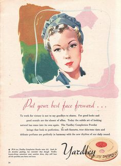 Yardley Complexion Powder Make-up Advert 1942, forties beauty, 1940s, vintage