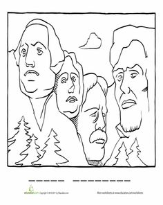 Worksheets: Mount Rushmore Coloring Page