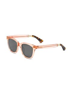 See the world with rosey glasses. These TOMS Memphis frames have polarized lenses with a peach and tortoise combo design.