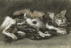 Charles Edme Saint-Marcel Cabin (1819-1890), 1877, A Sleeping Cat and Two Kittens.