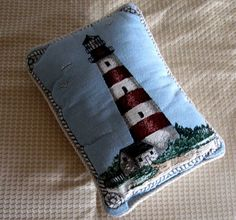Vintage Pillow Nautical Lighthouse Tapestry Blue by CinfulOldies, $12.00