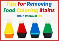 Tips and ideas for removing food coloring and dye stains that you get from popsicles, Kool Aid, sodas, and more {on Stain Removal 101}