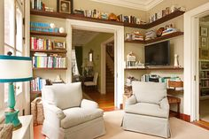 Floating bookcases.  House of Turquoise: Suellen Gregory Interior Design