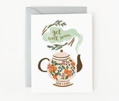 Teapot Get Well Soon Card 1pc by QuillandFox on Etsy,