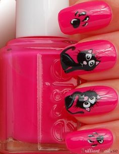 Kittens Nail Art by BrilliantNail, via Flickr -- tweak to make it look like Bad Kitty? #nail_art #nails #nail #nail_polish #manicure