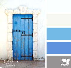 living rooms, color palettes, design seeds, blue doors, exterior houses