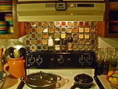 My new DIY spice rack! The new oven was too tall for my old one so I took that as license to totally revamp the whole thing...