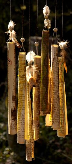 Paper wind chimes. Write out intentions to be released in the wind.