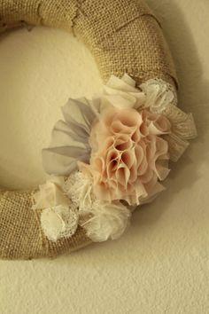 burlap, fabric flowers, shabby chic wreaths, shabbi chic