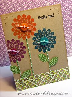 Saturday, November 26, 2011Simon Says Stamp Presents a Product Challenge:Lilly Pad Cards - Thank you card or birthday or really anything Button Buddies