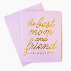 """Say """"Happy Mother's Day"""" with this sweet gold and purple card."""