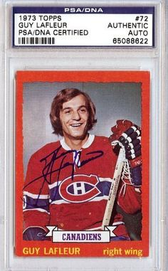 Guy LaFleur Autographed 1973 Topps Card PSA/DNA Slabbed #65088622 . $79.00. This is a hand signed Guy LaFleur 1973 Topps Card. This item has been authenticated and slabbed by PSA/DNA.