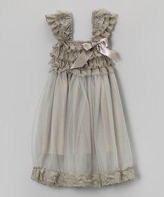 Gray Lace Ruffle Babydoll Dress
