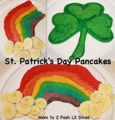 Shamrock and Rainbow Pancakes for St. Patrick's Day