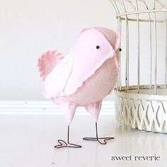 Stella -  Fabric Bird in Pale Pink Pastel Vintage Linen and Lace, Baby Girl Nursery Home Decor Bird Wedding Cake Topper - Made to Order, via Etsy.