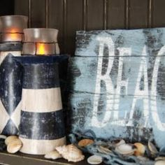 Made out of cereal boxes! how cool! craft, lighthouses, lighthous candl, beach signs, beach houses, candle holders, cereal boxes, bathroom, candl holder
