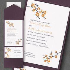 Cherry Blossom Wedding Invitations in Mango & Raisin #weddinginvitations #cherryblossomweddinginvitations #cherryblossomwedding