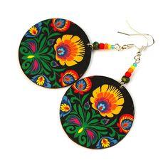 polish Folk motif Earrings from @MADEbyMADA #fashion #crafts #flowers #colorful #folk #cut out motif #madebymada