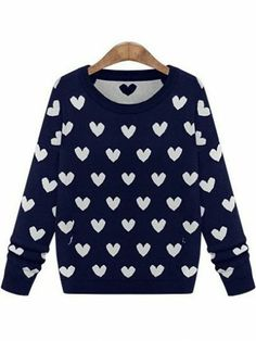 Royal Blue Long Sleeve Hearts Pattern Sweater