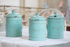 Vintage Enamel Storage Jars