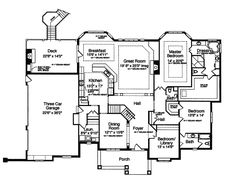 Hungerford Trail Craftsman Home | Plan 065D-0041 | wonderful open floor plan and amazing covered deck with fireplace