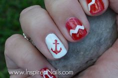 Anchors, Chevron Stripes & Stars Nail Decals Choice of Colors Mint, Gold, Silver, White, Red and More via Etsy
