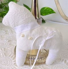 Dala horse Hanna linen white lace vintage by GrannyHannasCottage