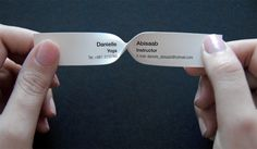 Twist to read business card for a yoga instructor. Very very clever!